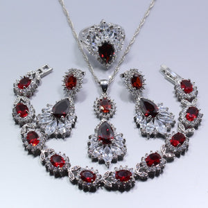 Ruby Red Silver Jewelry Set