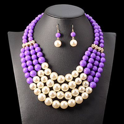 Pearl and Bead African Jewelry Set