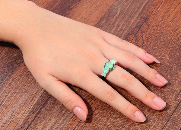 Green Opal Crystal Rings