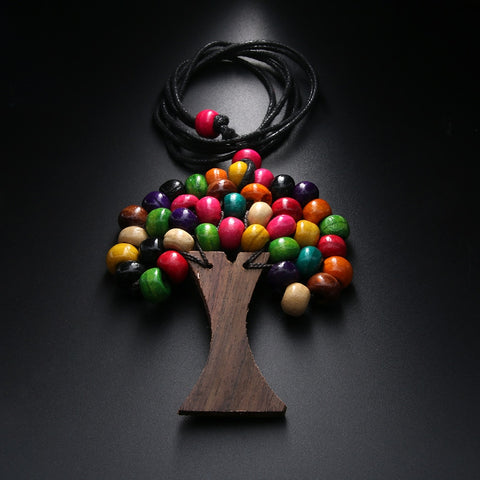 Rainbow Bead Tree of Life Necklace