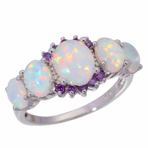 White Fire Opal Rings