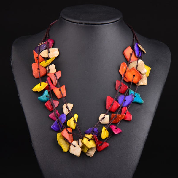 Bohemian Rainbow Flake Necklace