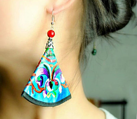 Handmade Silk Embroidered Earrings