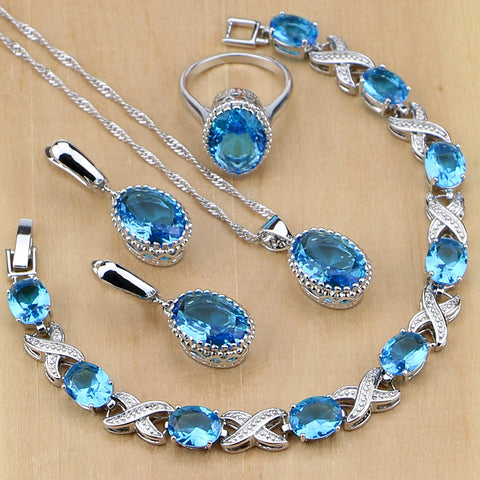 Silver Ice Blue Jewelry Sets