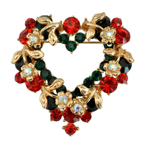 Christmas Heart Wreath Brooch