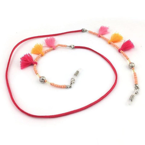 Fuschia Bead Tassel Neck Chain