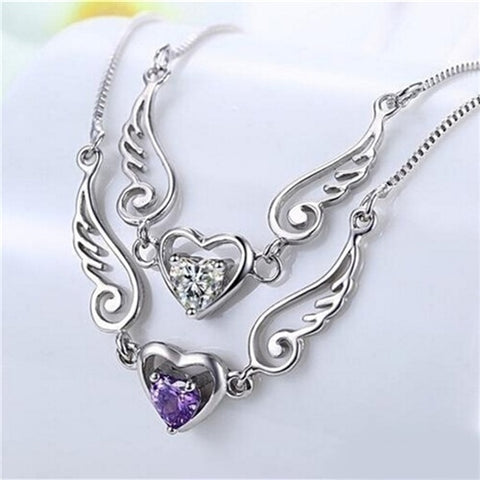 Angel Wing & Love Heart Necklace