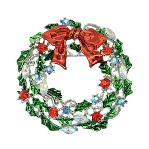Christmas Holly Wreath Brooch