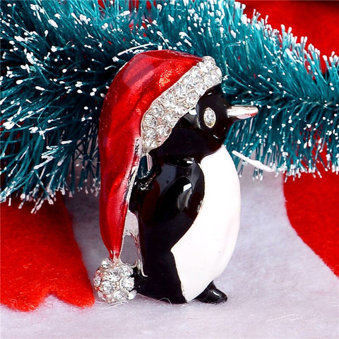 Festive Penguin Christmas Brooch