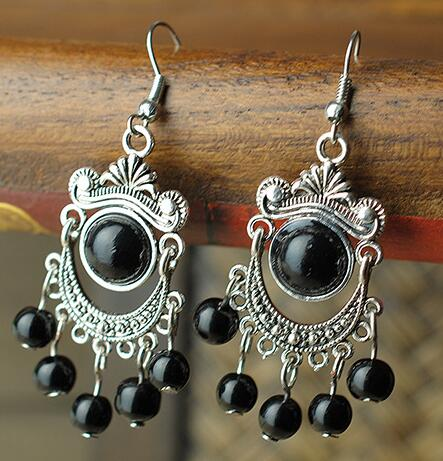 Natural Stone Drop Vintage Earrings