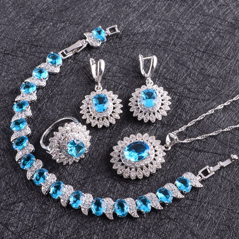 Classic Ice Blue Jewelry Set