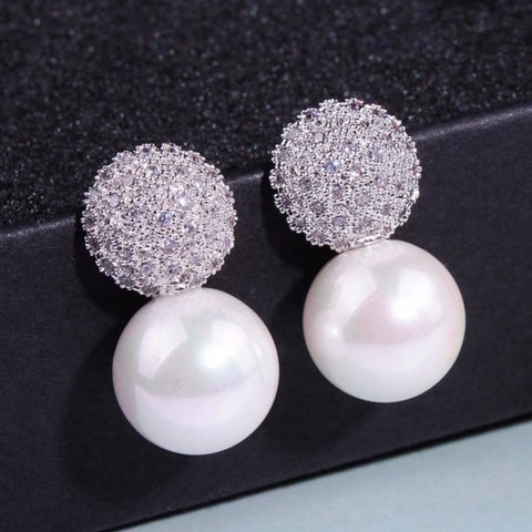 Elegant Crystal Dust Pearl Earrings