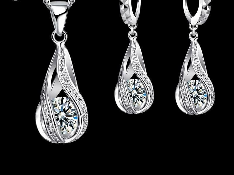 Sterling Silver Tear Drop Necklace & Earring Sets