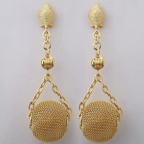 African Gold Mesh Dangle Earrings