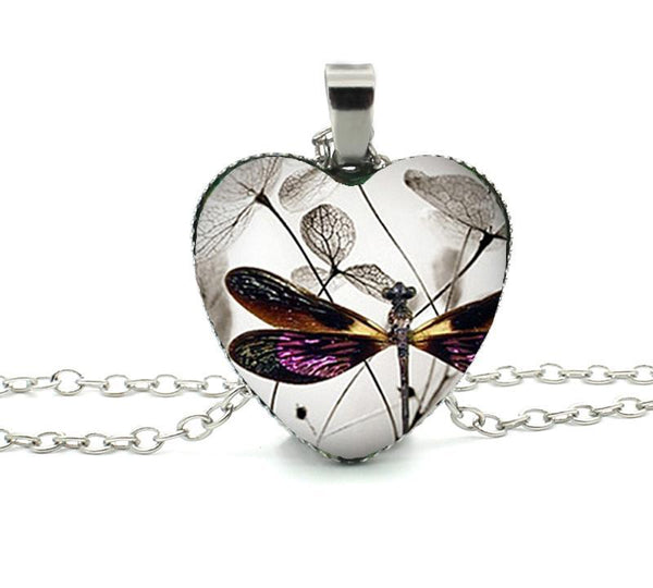 Murano Glass Dragonfly Heart Pendants