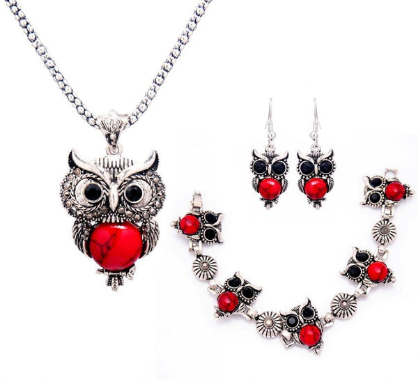 Tibetan Stone Owl Jewelry Sets