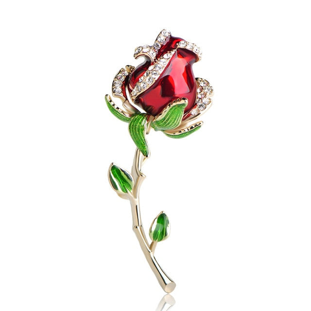 Red Rose Brooch