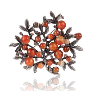 Natural Stone Berry Brooch