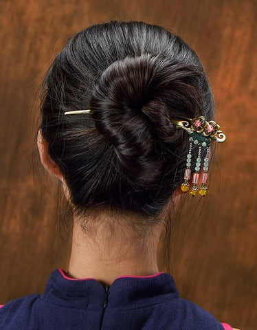 Ethnic Stone Drop Hair Sticks