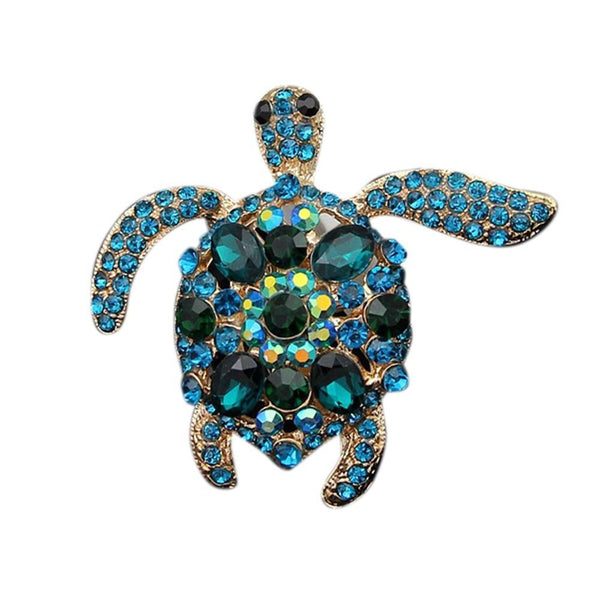 Crystal Blue Turtle Brooch