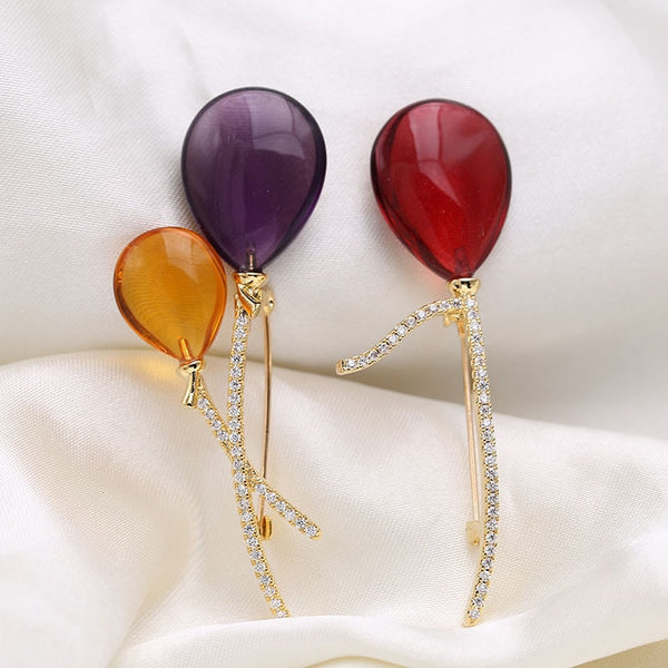 Crystal Balloon Brooches
