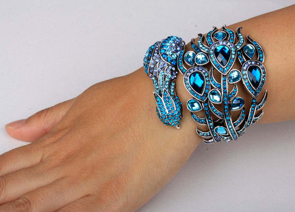 Crystal Peacock Cuff Bracelets