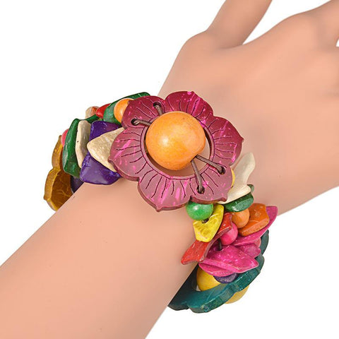 Flower Power Wooden Bracelet