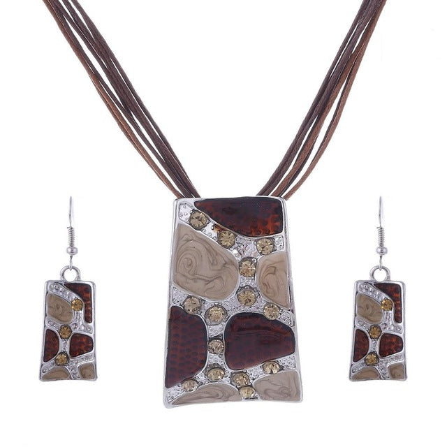 African Tribal Enamel Jewelry Set