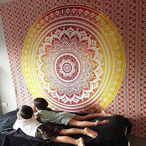 Indian Sunset Mandala Tapestry
