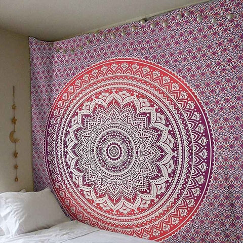 Red Ombre Indian Mandala Tapestry