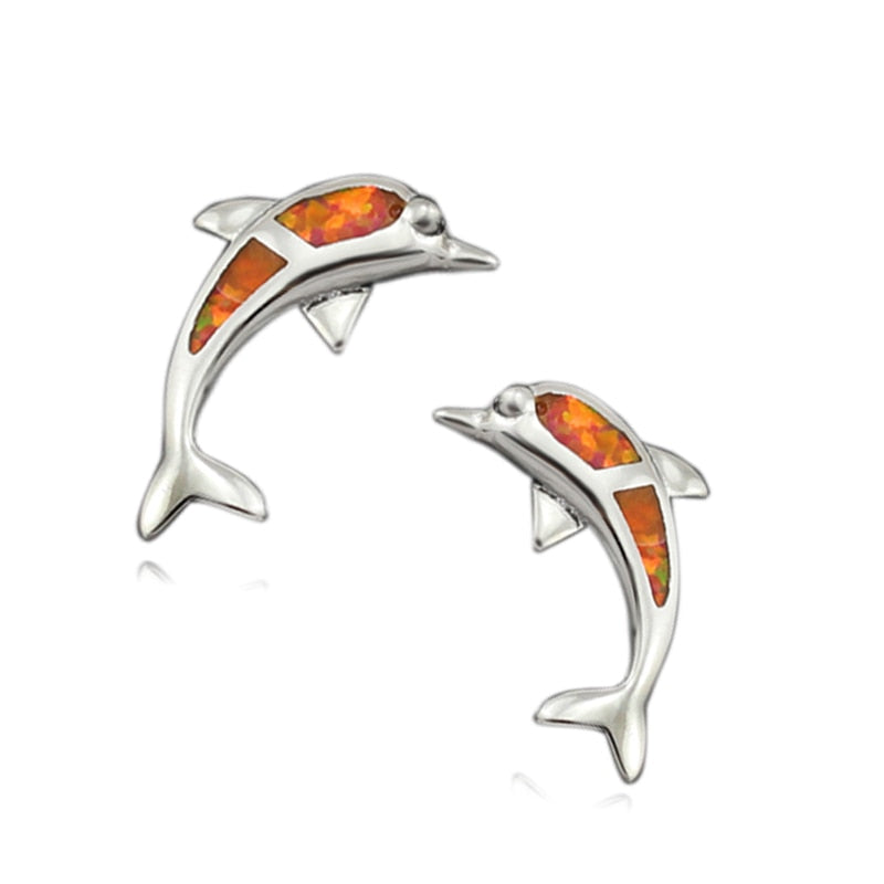 Orange Fire Opal Dolphin Stud Earrings