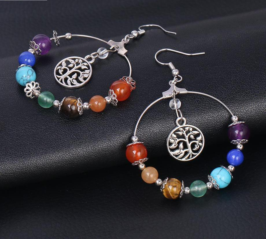 Chakra Gem Stone Hoop Earrings