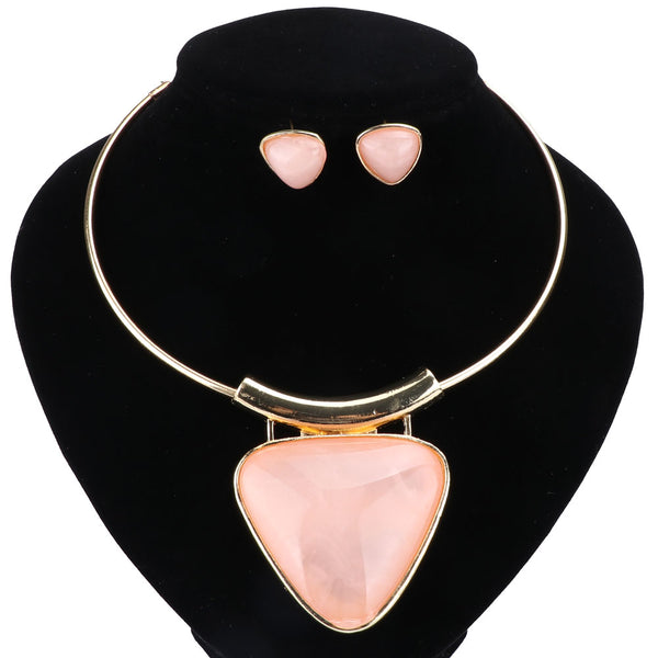 Triangle Gem Pendant Jewelry Set