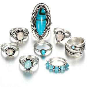 Turquoise and Pearl Ring Set