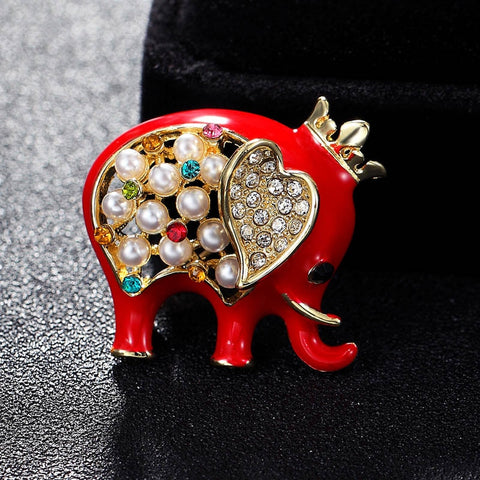 Multi Jewel Crowned Elephant Brooches
