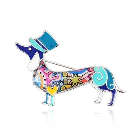 Enamel Dachshund Dog Brooch