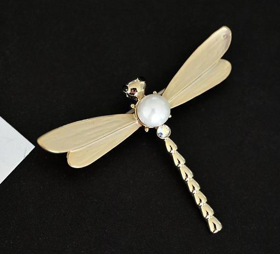 Statement Pearl Dragonfly Brooches