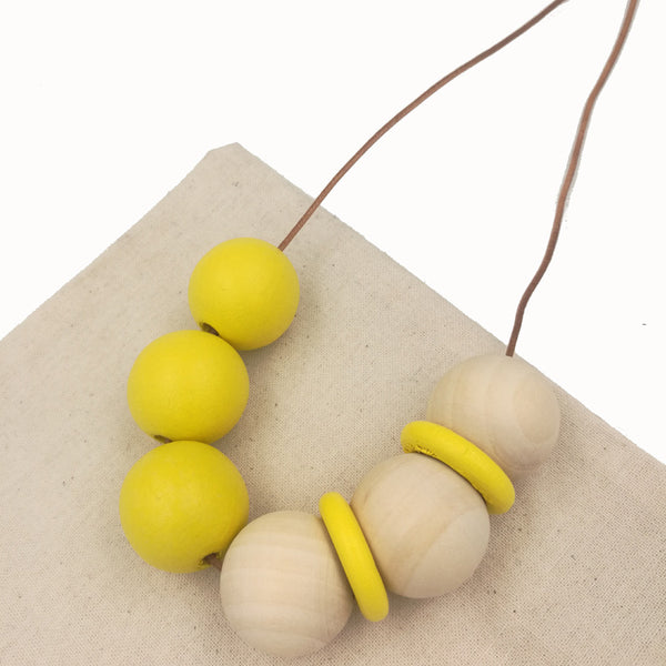 Boho Sunshine Wooden Bead Necklace