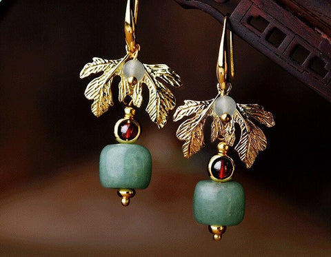 Ethnic Leaf Green Stone Drop Earrings