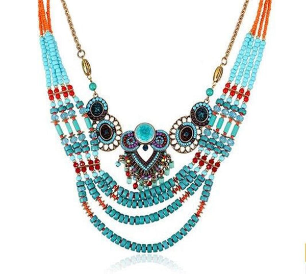 Boho Owl Bead Tribal Necklace