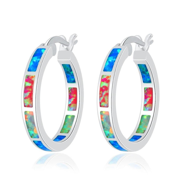 Rainbow Fire Opal Hoop Earrings