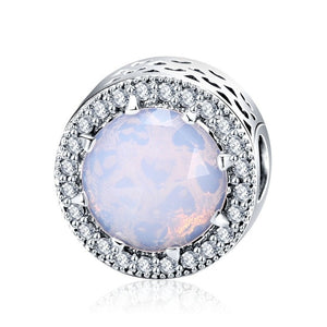 Crystal Opal Button Charm