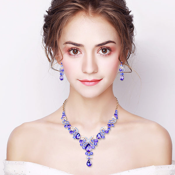 2 or 4 Piece Delicate Crystal Drop Jewelry Set