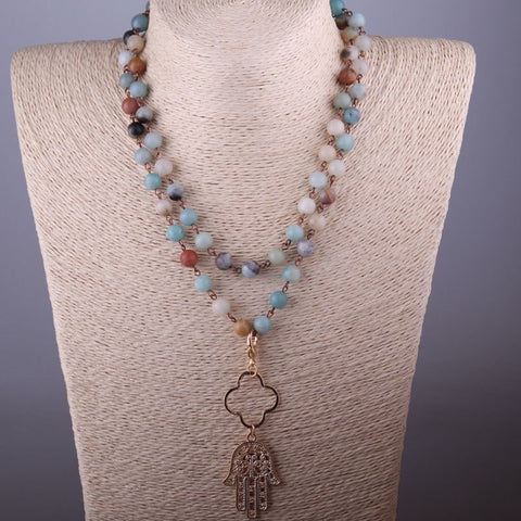 Gypsy Palm Rosary Bead Necklace