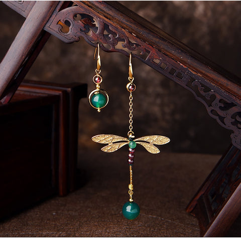 Ethnic Vintage Dragonfly Stone Bead Earrings