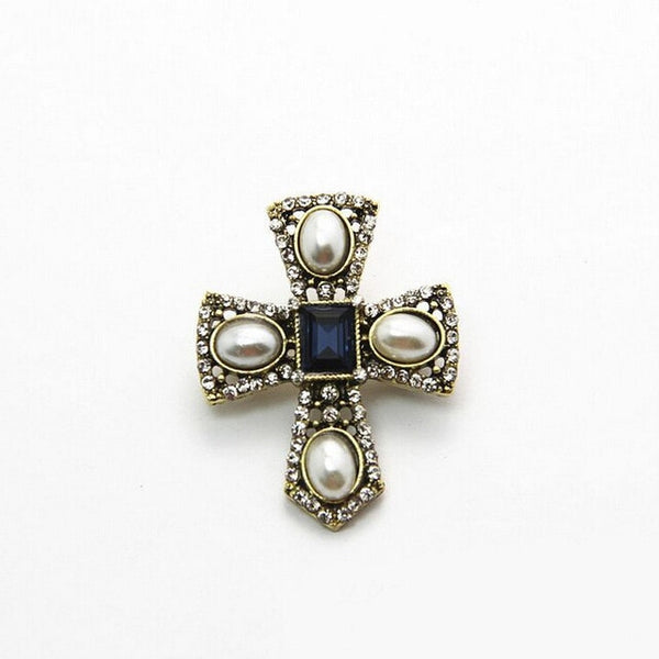 Vintage Pearl Cross Brooches
