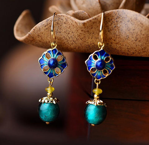 Vintage Cloisonne Stone Drop Earrings