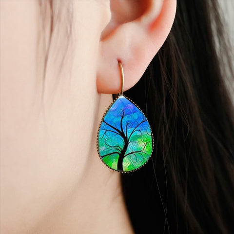 Chakra Tree of Life Tear Drop Earrings