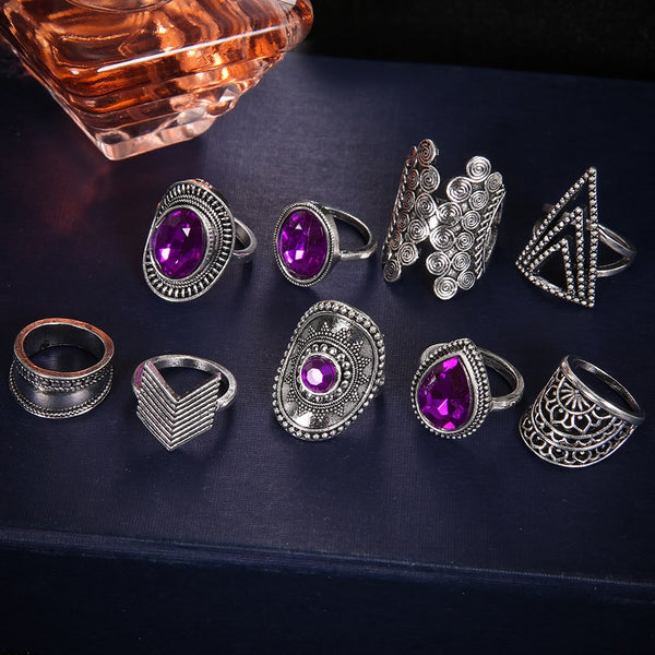 Purple Bohemian Ring Set