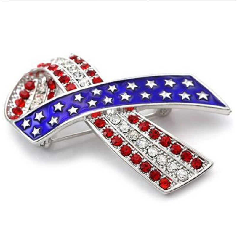 American Flag Ribbon Brooch